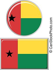 Guinea-Bissau round and square icon flag.