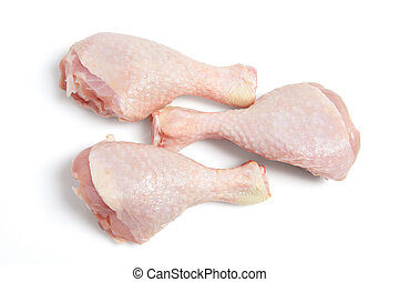 Raw Chicken Drumsticks on White Background