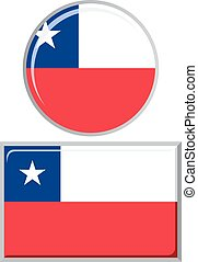 Chilean round and square icon flag.