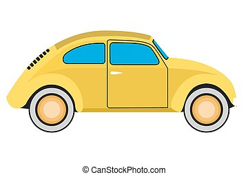 Yellow car.  - Yellow Old car. Isolated on  with  background
