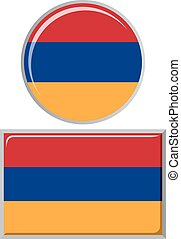 Armenian round and square icon flag.