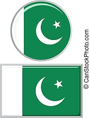 Pakistani round and square icon flag