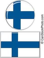 Finnish round and square icon flag.