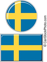 Swedish round and square icon flag