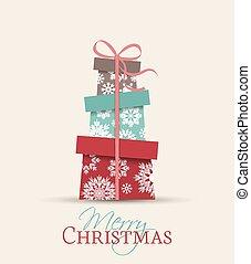 Presents - Retro decorative Christmas presents, vector...