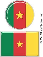 Cameroon round and square icon flag.