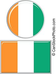 Cote d Ivoire round and square icon flag.