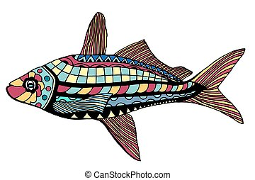 stylized Fish - Zentangle stylized Fish. Hand Drawn doodle...