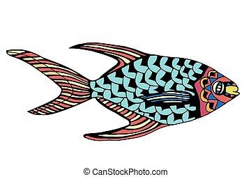 stylized Fish - Zentangle stylized Fish Hand Drawn doodle...
