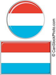 Luxembourg round and square icon flag