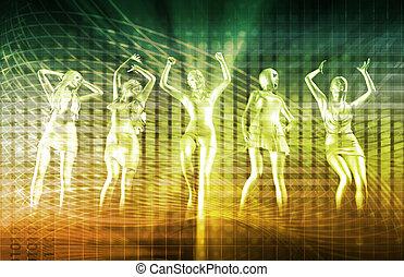 bailando, gente,