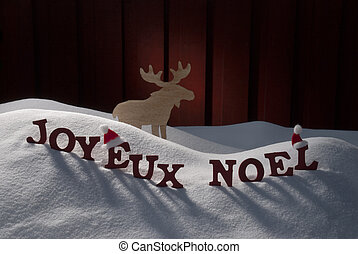 Joyeux Noel Means Merry Christmas On Snow Moose - Red...