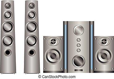 acoustics - music speaker system on white background
