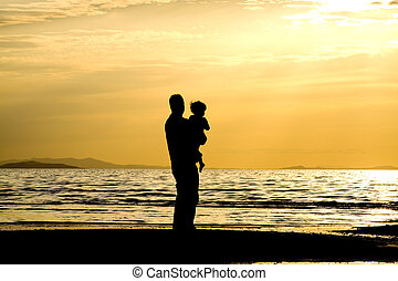 Father and Son - Father andSson on the Beach - Silhouette...