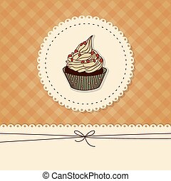 Funny card, invitation with a cupcake and place for text -...