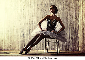 ballet dancer - Professional ballet dancer posing at studio...