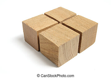 Arrangement of Wooden Blocks on White Background
