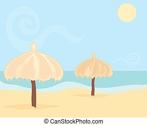 beach umbrellas - an illustration of two straw beach...