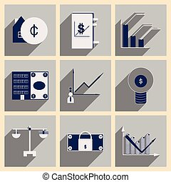 Flat with shadow concept stylish Finance icons
