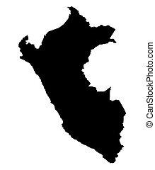 black map of Peru