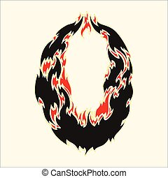 Fiery font number 0 Illustration on white background