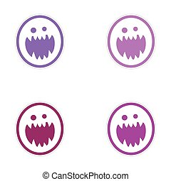 Sticker assembly bright monster with sharp teeth on white...