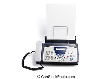 Fax Machine on Isolated White Background