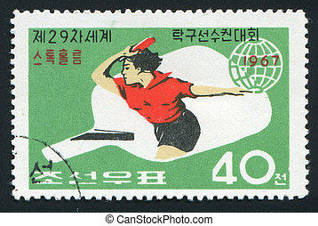 postmark - NORTH KOREA - CIRCA 1967: 29th World Table Tennis...