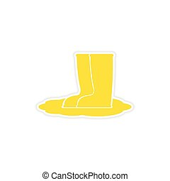 icon sticker realistic design on paper rubber boots