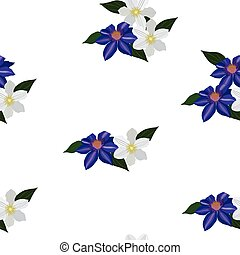 seamless pattern with blue and white clematis on a white...