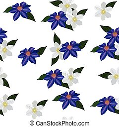 seamless pattern with clematis on a white background