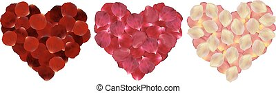 Hearts of rose petals - Illustration of rose petals in shape...