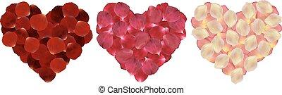 Hearts of rose petals