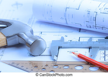 Architectural blueprints rolls and engineering items Toned...
