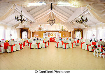 catered tables in wedding restauran