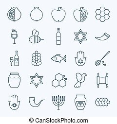 Line Holiday Rosh Hashanah Icons Set Vector Set of 25 Jewish...