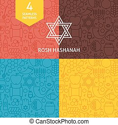 Thin Line Rosh Hashanah Holiday Patterns Set Four Vector...