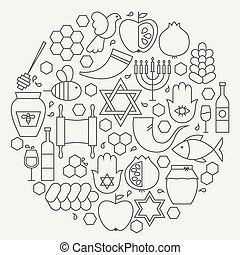 Rosh Hashanah Holiday Line Icons Set Circular Shaped. Vector...