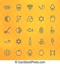 Rosh Hashanah Thin Line Icons Set Vector Collection of...