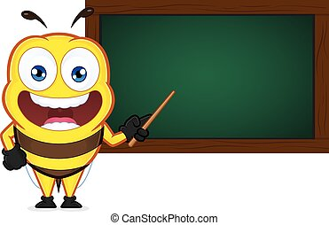 Bee with a chalkboard - Clipart picture of a bee cartoon...