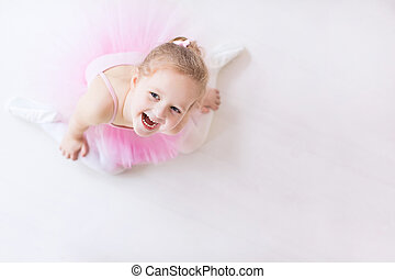 Little ballerina in pink tutu - Little ballerina girl in a...