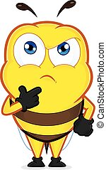 Bee thinking - Clipart picture of a bee cartoon character...