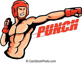 Punch - vector illustration of a boxer throw a punch.