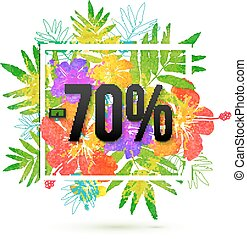 summer sale 70 percent discount vector template on floral...