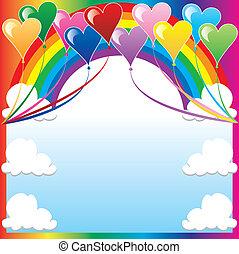 Heart Balloon Background - Vector Illustration of 10 Heart...