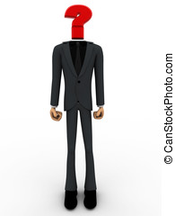 3d man with head of question mark concept