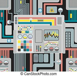 Production system. Control Panel seamless pattern. Background of wires and sensors and devices. Vector illustration of high-tech production. Industrial vector ornament