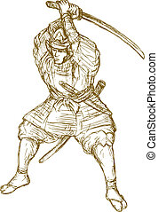 samurai warrior with sword in fighting stance - hand drawn...