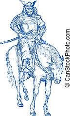 samurai, guerriero, sentiero per cavalcate, cavallo, Spada