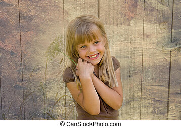 Young Girl - Young girl with summer weed in texture.